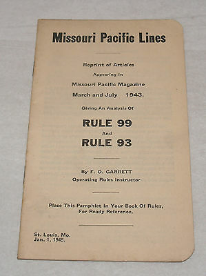 Vintage Missouri Pacific Lines Railroad Employee Rule Book Ww2 1945