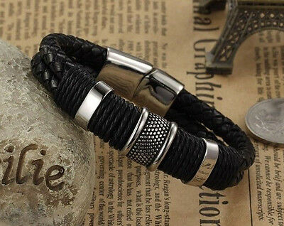Mens Genuine Leather Metal Braided Wristband Bracelet Gift Stainless Steel Clasp