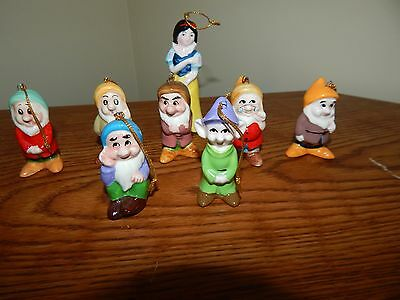 Vintage Porcelain Snow White and the Seven Dwarves Dwarf Ornaments Japan Disney