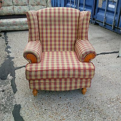 High Back Winged Armchair/Checked Fabric/Farmhouse-Country Style. Used Item. F/L