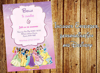 disney princess personalised party invitations with envelopes