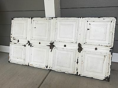 """Reclaimed Antique Tin 24"""" X 48"""" Architectural Salvage Pressed Ceiling Tiles"""