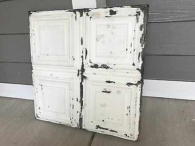 "Reclaimed Antique Tin 24"" X 24"" Architectural Salvage Pressed Ceiling Tiles"