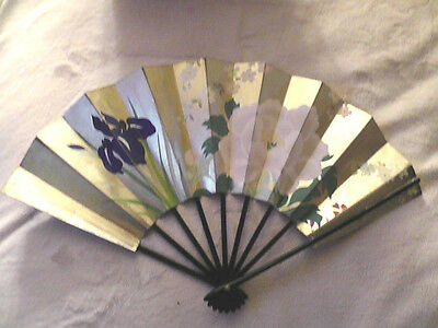 Vintage Asian Japanese Hand Painted Flower Stiff Paper Folding Fan