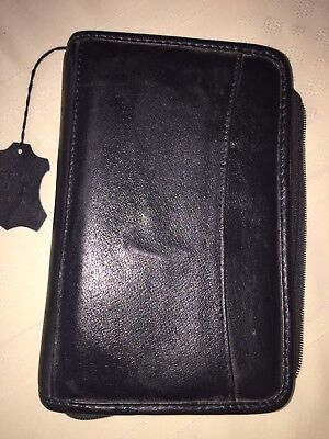 Black Leather Cover Planner Organizer Day-Timer