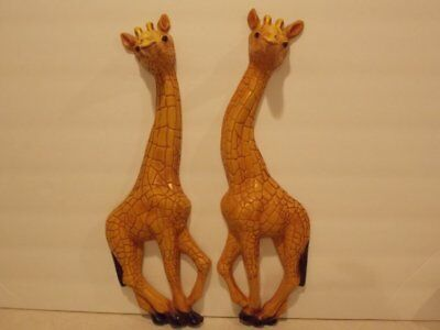 Vintage Signed 1977 Homco 3-D Molded Plastic Giraffe Wall Hangings