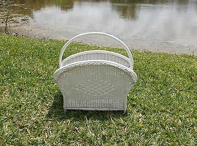 """Antique Victorian Style """"shabby Chic"""" Wicker Magazine Stand"""