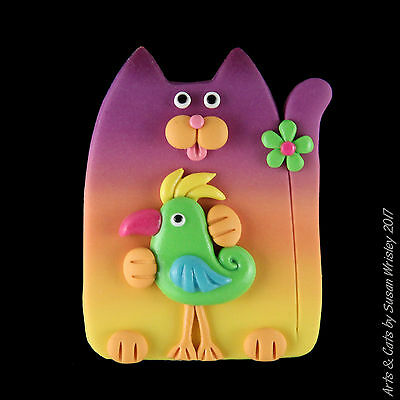 Plum Peach Yellow Sunset Kitty Cat & Green Parrot Bird Pin - SWris