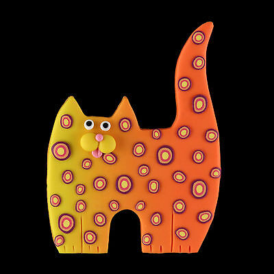 Standign Orange Yellow Leopard Spotted  Kitty Cat Pin - SWris