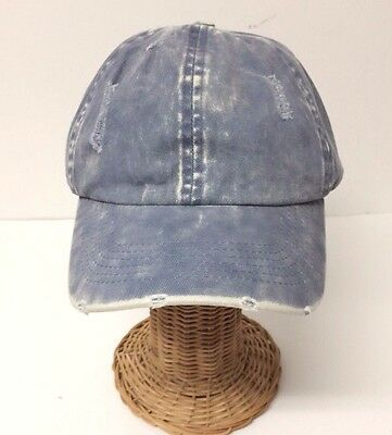 Distressed Vintage Cotton Polo Style Baseball Ball Cap Hat 100% Cotton NEW Blue