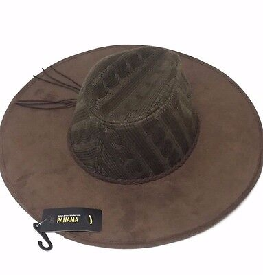 Women Men Brown Knit Crown W/faux suede Brim Floppy Fedora Trilby Cap Panama Hat