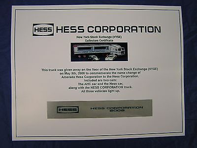 """Hess 2006 NYSE Collectors Certificate """"NICE"""""""