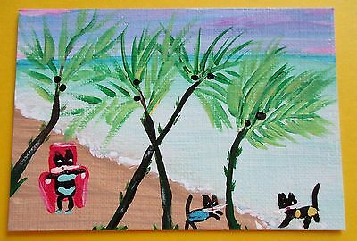 CAT BEACH PARTY AT BREEZY PALMS SIGNED ORIGINAL OoAK 2014 ACEO ART CARD ATC