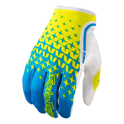 Troy Lee Designs XC Starburst Mens MX/Offroad Gloves Cyan Blue/Yellow/White MD