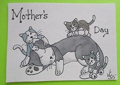 MOTHER'S DAY CATS & KITTIES  SIGNED ORIGINAL OoAK ACEO ART ATC 2015