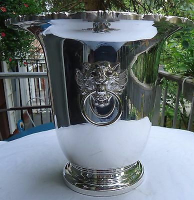 Vintage Poole Silverplate Ice Bucket Old English With Lion Heads Never Used.