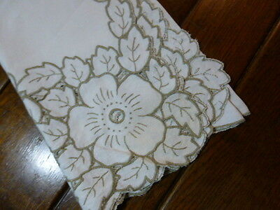 Vintage Beige Linen Embroidered Cut Work Tablecloth  Oversized Flowers