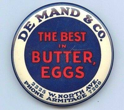 De Mand & Co. Butter Advertising Paperweight, Mirror Pocket Eggs Dairy