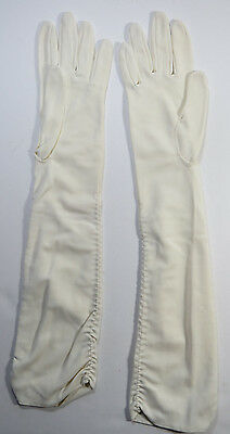 Vintage Womens Gloves White Ivory Elbow Length