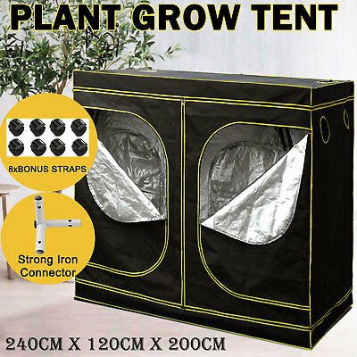 2.4 x 1.2 x 2m Hydroponic Grow Tent Oxford Cloth Window Plant Indoor Room Box