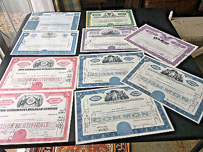 Vintage Lot Of 10 Stock Ceificates Studebaker Packard Railroads Western Union ++