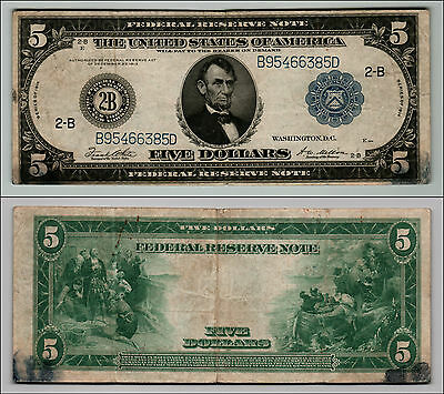 1914 $5  Dollar Large Bill Federal Reserve Note FROM NEW YORK LQ659