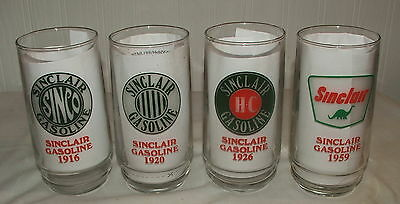 4 Sinclair Gasoline Through the Years Advertising Drinking Glass Souvenier