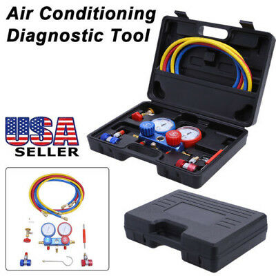 Air Conditioning AC Diagnostic A/C Manifold Gauge Tool Kit Refrigeration R-134A