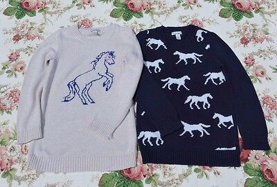 Old Navy Girl Lot Of 2 Navy Blue Cream Horse Pullover Sweaters Size M 8