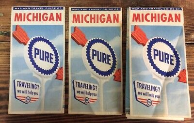Vtg 60s Lot 3 1962 Pure Oil Michigan Road Map Maps Gas Station Oil Advertising