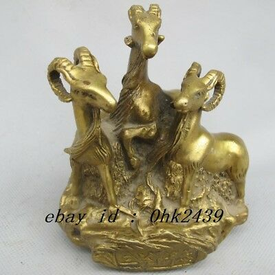 Chinese Old Bronze Handwork Carved Three Sheep Statue
