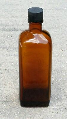 brown glass square bottle