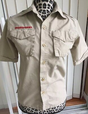 Boy Scout Uniform Button Down Tan Youth Medium (I770)