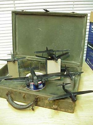 SIX WWII US AIRFORCE TRAINING MODEL PLANES & WOOD CASE-Rare Find!