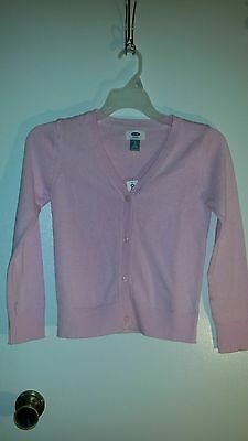 Girls Old Navy LS Pink V-neck Sweater Cardigan Sz M (8) NWT