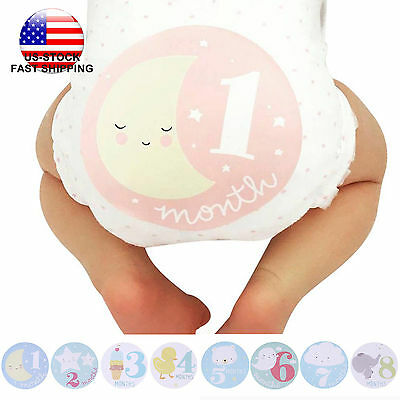 US-STOCK Baby Shower Girl Boy Infant 12 Monthly Stickers Photo Props Keepsakes