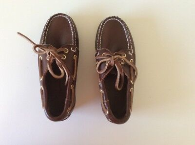 Boys Walnut Leather Boat Shoes Brand New Size 29