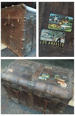 Huge Vintage Metal Brown Luggage Travel Steamer Trunk Case Decor Sticker Details