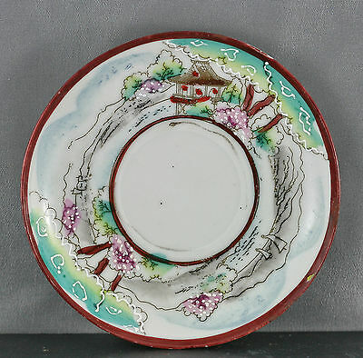 Delicate Antique Japanese Hand Painted Egg Shell Porcelain Plate Circa 1910s