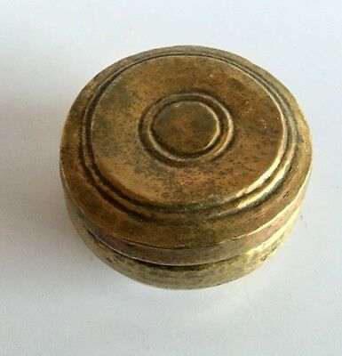 Vintage  Old Indian Old Brass Round Hand Carving Islamic Betel Nut Opium Box