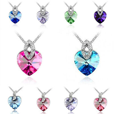 Women Heart Pendant Silver Plated Crystal Chain Necklace Jewelry Lot In Bulk