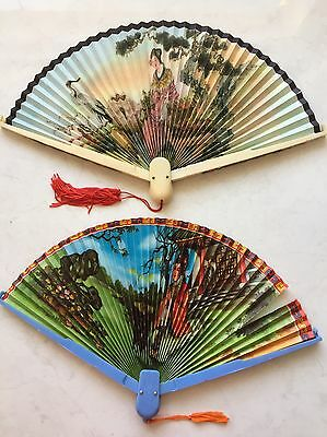 Pair Of 1960s Retro Hand Fans Chinese Images/ In Style. Plastic.