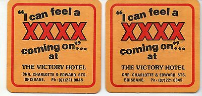 Two XXXX Victory Hotel Australian Beer Coasters (Correction)