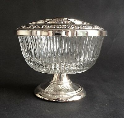 Lovely Vintage Silver-Plated & Glass Rose Bowl, Mayell, Made In England