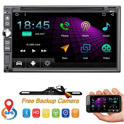 """7"""" 2 Din Android 7.1 Car Stereo DVD GPS WiFi OBD2 Head unit Mirror-Link + Camera"""