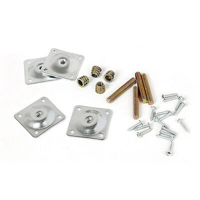 Mudder Leg Mounting Plates with Hanger Bolts Screws Adapters for Furniture Sofas