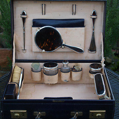 Outstanding Mappin & Webb Solid Silver & 'Faux' Tortoiseshell Vanity Set