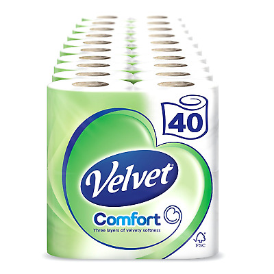 Velvet White Toilet Roll Tissue Paper 40 Rolls (Pack of 10 X 4)