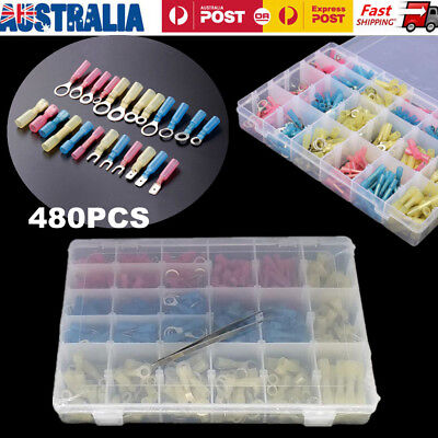 480pcs Heat Shrink Rings Butts Wire Connectors Cable Wire Crimp Terminals Kit AU