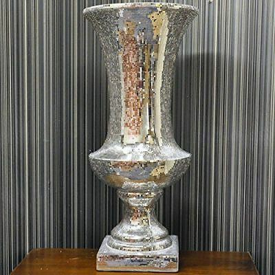 Silver mirror mosaic tall large vase picclick uk for Tall glass mirror